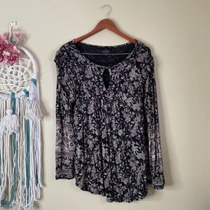 Lucky Brand Floral Long Sleeve Top Black Size 1X